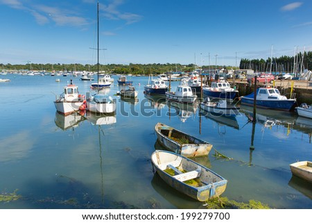 Bembridge harbour Isle of Wight in the English Channel off the Hampshire coast  - stock photo