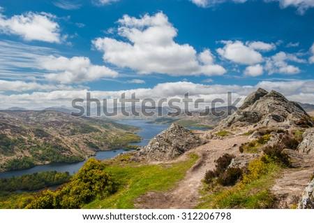 Ben A'an and Loch Katrine - stock photo