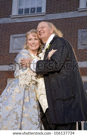 Ben Franklin and Betsy Ross actors married in real life on July 3, 2008 in front of Independence Hall, Philadelphia, Pennsylvania - stock photo