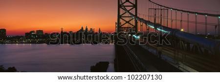 Ben Franklin Bridge, Philadelphia, Pennsylvania - stock photo