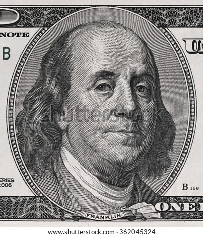 Ben Franklin face on us one hundred dollar bill macro, united states money closeup - stock photo