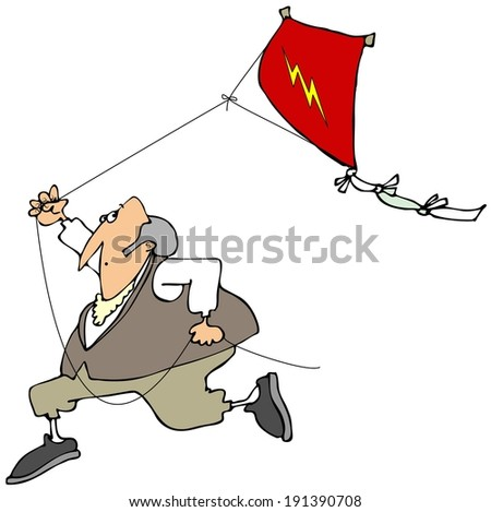 Ben Franklin flying a kite - stock photo