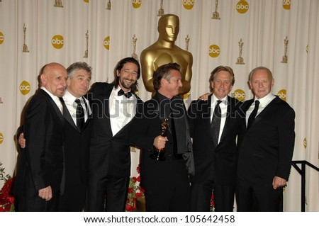 Ben Kingsley, Sean Penn, Robert De Niro, Michael Douglas, Adrien Brody and Anthony Hopkins in the Press Room at the 81st Annual Academy Awards. Kodak Theatre, Hollywood, CA. 02-22-09