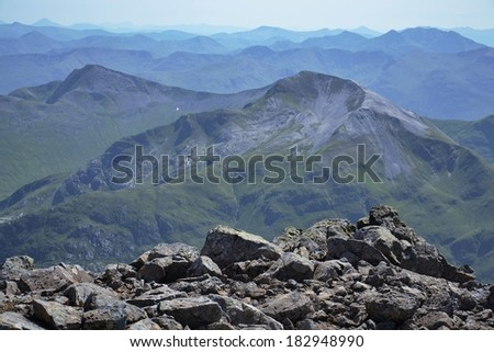 Ben Nevis summit - the highest mountain in the United Kingdom  - stock photo