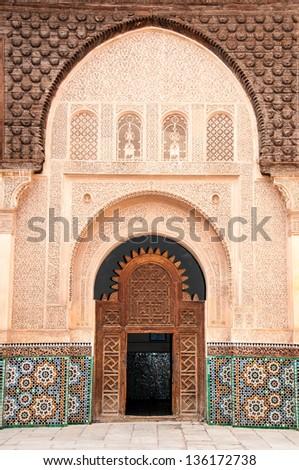 Ben Yussef Medersa main door at Marrakech, Morocco - stock photo