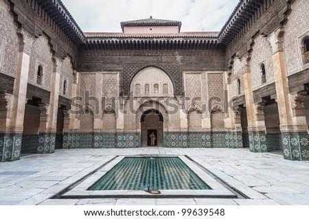 Ben Yussef Medersa main yard at Marrakech, Morocco - stock photo