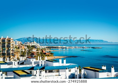 Benalmadena coast. Benalmadena is a town in Andalusia in southern Spain - stock photo
