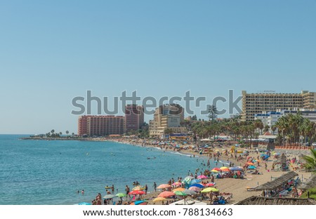 Benalmadena, Malaga, Spain - September 6th 2017. Tourist and locals enjoy the sun on the Costa del Sol.