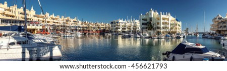 "Benalmadena, Spain-19 December, 2013:View of Puerto Marina, that has won the title of ""Best Marina in the World"" several times. It has a very unusual and modern architecture"