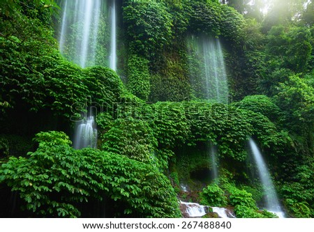 Benang Kelambu Waterfall, Lombok - stock photo