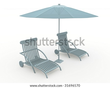 Bench and beach umbrella. Isolated on light background.