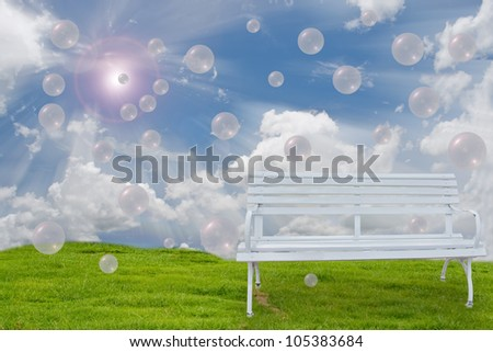 bench and fresh air. - stock photo