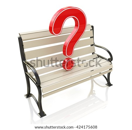 Bench and question at registration information related to unresolved issues. 3d illustration - stock photo