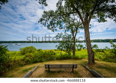 Bench and view of Town Cove, in Orleans, Cape Cod, Massachusetts.