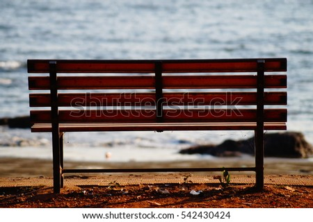 Bench by the sea near Panjim, Goa, India.