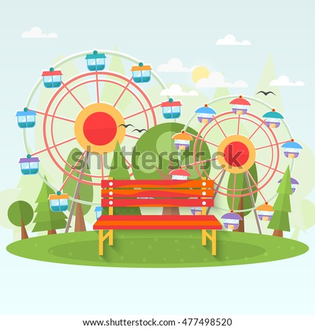 Bench in amusement park . Raster flat illustration .