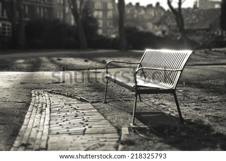 Bench in autumn park  - London, England Sepia color Shallow Focus