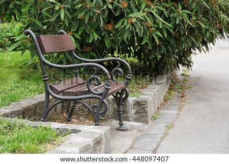 Bench in city park