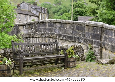 Bench in Kettle well village, Yorkshire Dales National Park UK