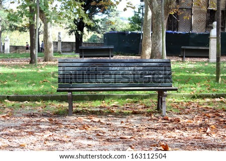 Bench in Park, Autumn - stock photo