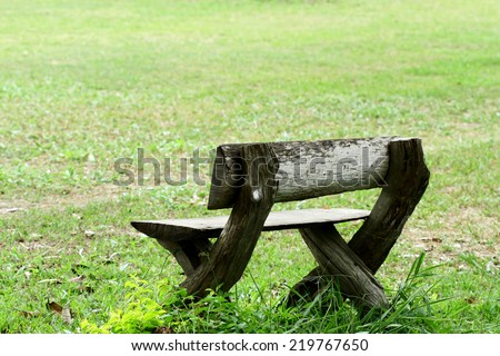 Bench in the green garden