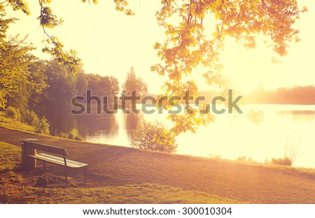 Bench in the Morning Light - stock photo