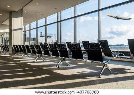 Bench in the narita airport.interior of the airport. - stock photo