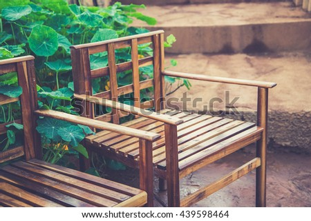 Bench in the park at Doi Ang-Khang, Chaing Mai, Thailand (Vintage filter effect used) - stock photo