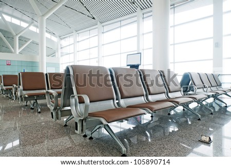 Bench in the shanghai pudong airport.interior of the airport.