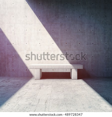 Bench near concrete wall and beam of light. 3D illustration.