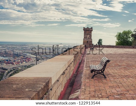 Bench on a rooftop - stock photo