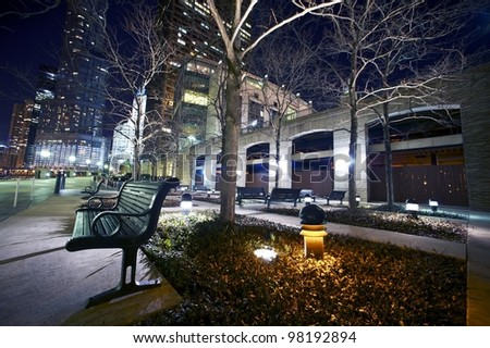 Bench on Chicago Riverwalk at Night. Downtown Chicago at Night. Horizontal Wide Angle Photography