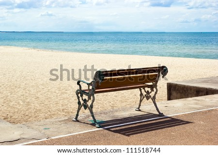 Bench on the beach in Songkhla, Thailand - stock photo