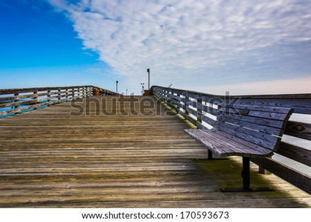 Bench on the pier in Chesapeake Beach, Maryland.