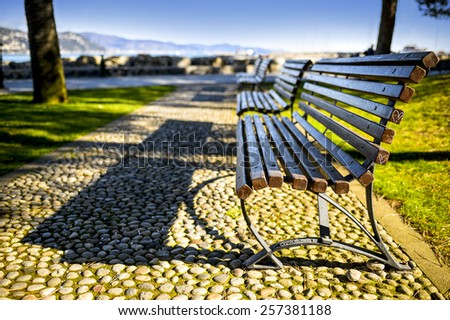 bench on the sea in the autumn park - stock photo