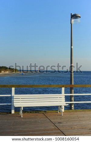 Bench on the seaside pier