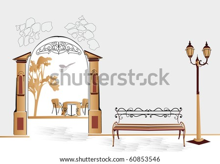 Bench on the street - stock photo