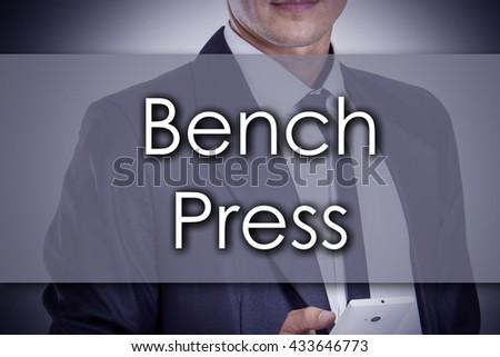 Bench Press - Young businessman with text - business concept - horizontal image