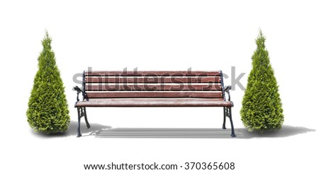 bench with trees isolated on white - stock photo