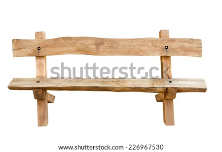 Bench. Wooden. of rough planks and logs. rustic bench of ecological materials.  - stock photo