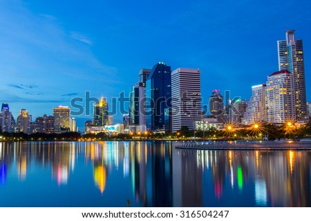 Benchakitti Park, Bangkok, Thailand. - AUGUST 22, 2015 : Cityscape shot of Benchakitti Park or Queen Sirikit National Convention Center.