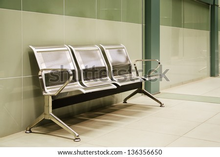 Benches and columns on the last subway station in Sofia, Bulgaria - stock photo
