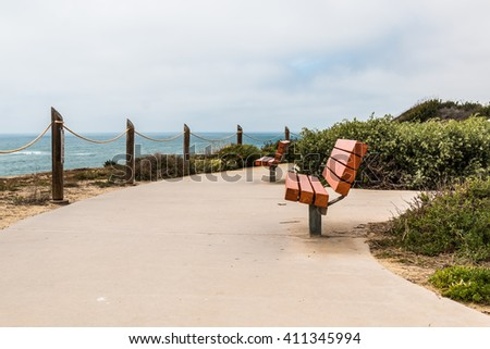 Benches at a coastal overlook on a cliff at the Point Loma tidepools in San Diego, California.  - stock photo