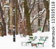 Benches in a park covered with snow - stock photo