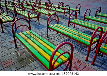 Benches in park for spectators of a concert