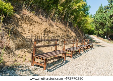 Benches in the Bulgarian forest