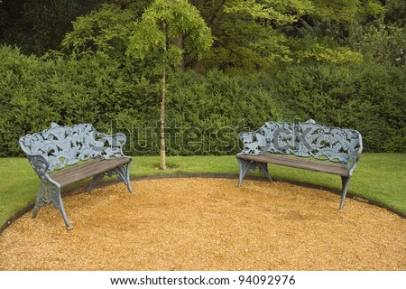 Benches in the park at Hughenden near London, England