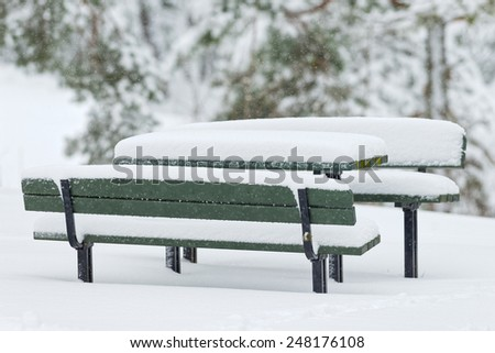 Benches with table during winter in park covered with snow