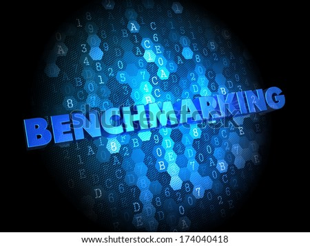 Benchmarking - Blue Color Text on Digital Background. - stock photo