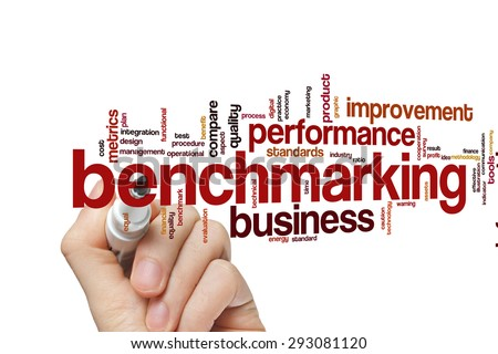 Benchmarking concept word cloud background - stock photo